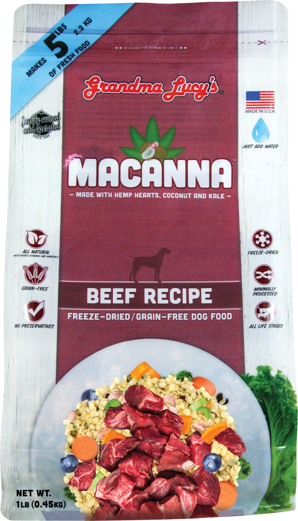 Grandma Lucy's Macanna Freeze Dried Beef 1lb