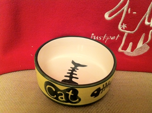 Just-pet hand made ceramic cat bowl